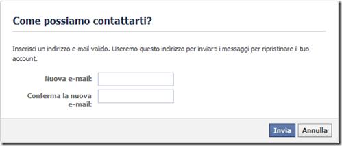 Facebook Come possiamo contattarti?