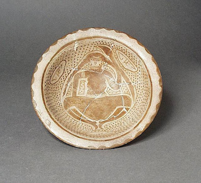 Bowl Iraq (?) Bowl, 9th or 10th century Ceramic; Vessel, Ceramic, underglaze painted, 4 1/4 x 2 in. (18.5 x 5.2 cm) The Nasli M. Heeramaneck Collection, gift of Joan Palevsky (M.73.5.242) Art of the Middle East: Islamic Department.