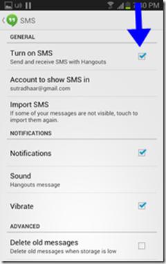 google hangout sms