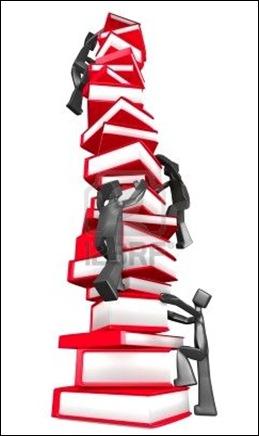 climbing book pile