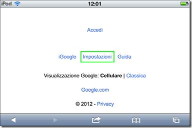 Google - Impostazioni
