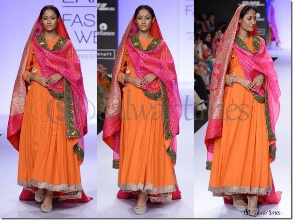 Gaurang_Shah_Orange_Full_Sleeves_Kameez