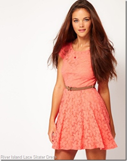 River Island Lace Skater Dress With Cap Sleeve