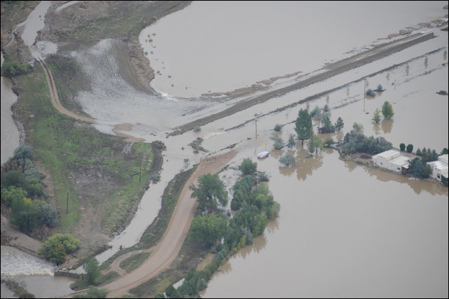 Flooded areas of Boulder County, Colorado are seen from a U.S. Army UH-60 Black Hawk helicopter on 18 September 2013. Photo: Staff Sgt. Jecca Geffre / U.S. Army National Guard