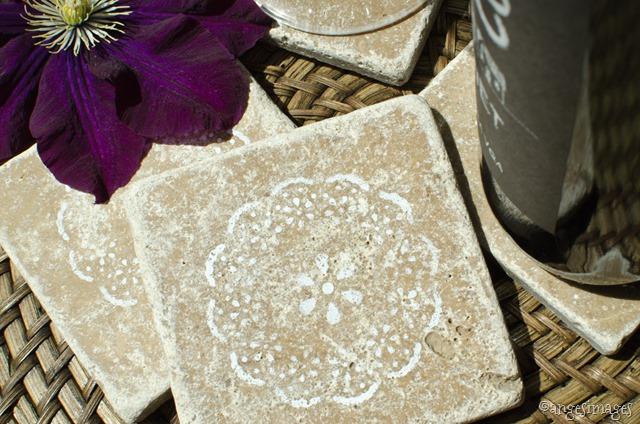 Stencilled Marble Coasters | personallyandrea.com