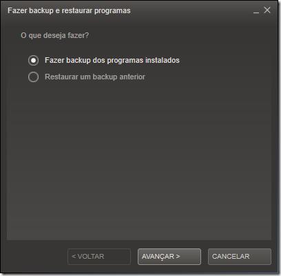 Marque a opção Fazer backup dos programas instalados e clique em Avançar
