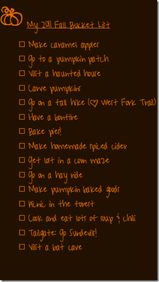 Fall Bucket List 2011