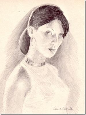 Portret de femeie desenat in creion