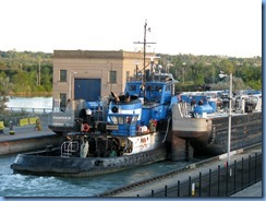 8004 St. Catharines - Welland Canals Centre at Lock 3 - Viewing Platform - Tug SPARTAN with barge SPARTAN II (a 407′ long tank barge) upbound