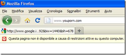Pagina web bloccata dalla restrizione dell'addon Procon Latte
