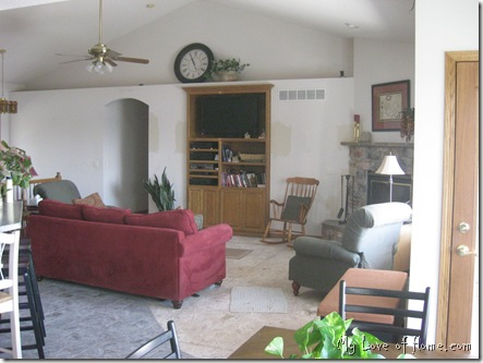 Living room, red couch
