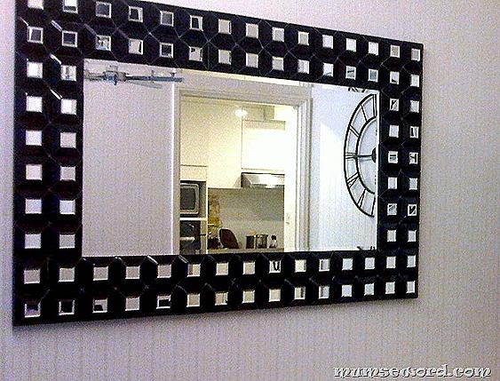 black white disco mirror