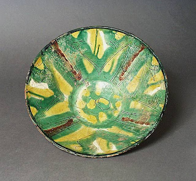 Bowl Iran, Nishapur Bowl, 10th century Ceramic; Vessel, Earthenware, incised, colored, and colorless glazes; color-spashed sgraffiato ware, 3 x 8 3/4 in. (7.62 x 22.23 cm) Gift of Mr. Joseph M. Upton (55.66.5) Art of the Middle East: Islamic Department.
