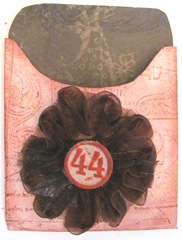 atc decorated holder w brown flower ribbon