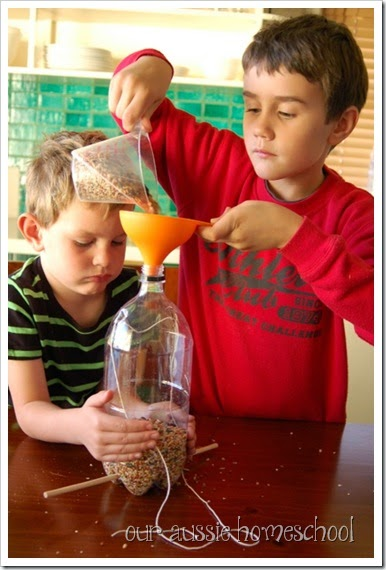 Our Aussie Homeschool ~ Flying Creatures ~ Homemade Birdfeeders