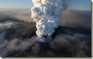 This aerial image shows the crater spewing ash and plumes of grit at the summit of the volcano in southern Iceland's Eyjafjallajokull glacier Saturday April 17, 2010. (AP Photo/Arnar Thorisson/Helicopter.is)
