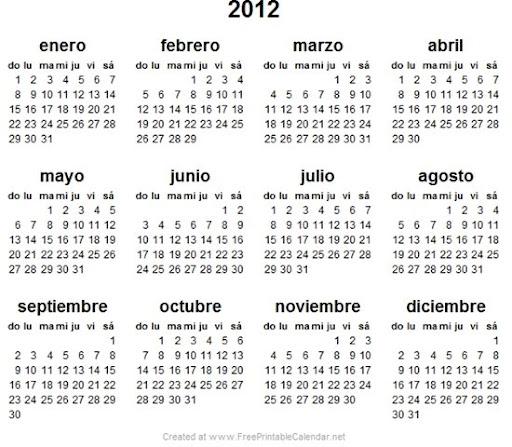 Calendario 2012 El Cual Tu Vas A Poder Imprimir  Tenerlo Fisicamente