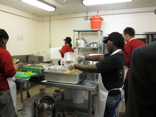 Liberty's Kitchen partnered with the school to serve meals from scratch, sourcing ingredients as locally as possible and offering typical New Orleans dishes like jambayala, red beans and rice, and okra.