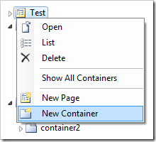 New Container to 'Test' page in Project Explorer.