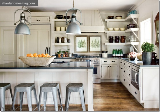 neutral kitchen with industrial elements designed by Jimmy Stanton of Stanton Home Furnishings in Atlanta