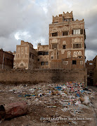 Trash pile in front of Sana&#039;a Nights hotel. Sana&#039;a, Yemen
