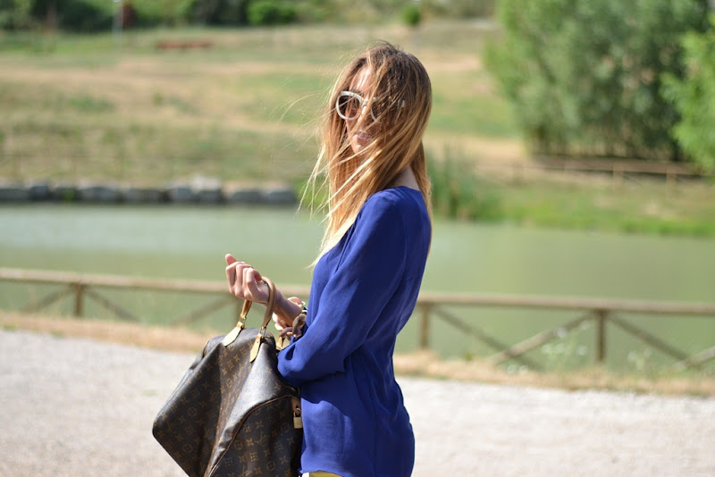 Zara sunglasses, Zara royal blue, Zara blouse