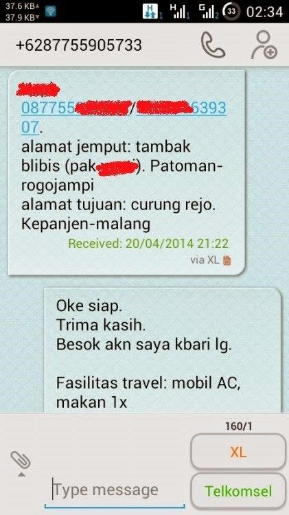 Pemesanan SMS Travel Banyuwangi - Kepanjen Malang
