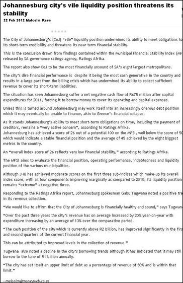 JOHANNESBURG VILE LIQUIDITY POSITION THREATENS STABILITY
