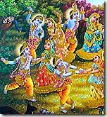 Krishna dancing with the gopis