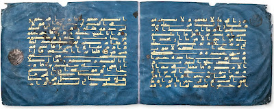 Cat. No. 2: Bifolium from the Blue Quran North Africa, 9th 10th century