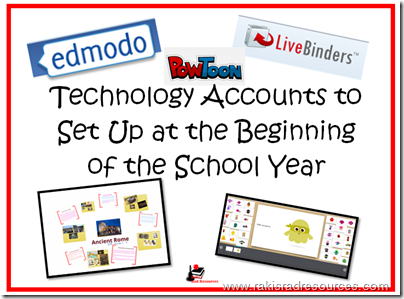 Top 10 Blog Posts from Raki's Rad Resources of 2014 -Technology accounts to set up for students at the beginning of the school year.  Setting up accounts at the beginning of the year makes the rest of the year's technology go much smoother.