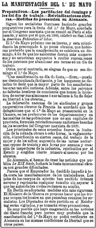 1890-04-03 - La Época - 02 (Preparativos del 1º de Mayo)
