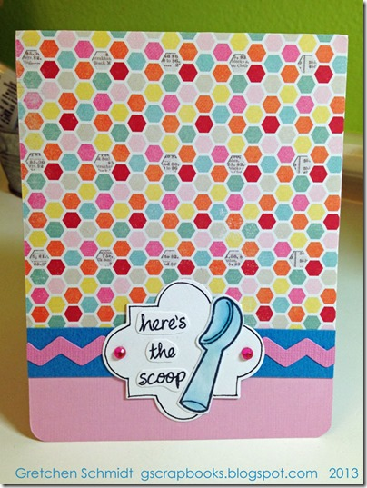 here's the scoop card with Funky Label Pop `n Cut by @gscrapbooks