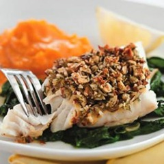Almond and Lemon Crusted Fish with Spinach