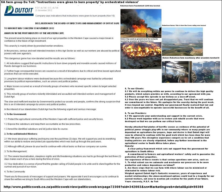 FARM VIOLENCE DU TOIT GROUP ROBERTSON NOV 2012 STATEMENT