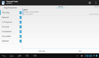 Screenshot of TimeAct To-Do / Tasks List