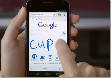 Esempio di scrittura a mano libera su Google