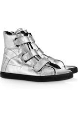 Karl Metallic leather high-top sneakers