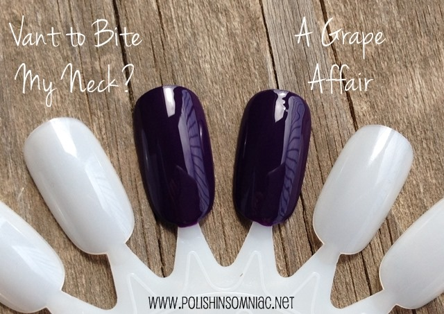 OPI Vant to Bite My Neck? (Euro Centrale) vs. OPI A Grape Affair (Coca-Cola)