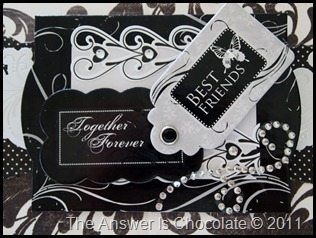 Black and White Anniversary Card Closeup
