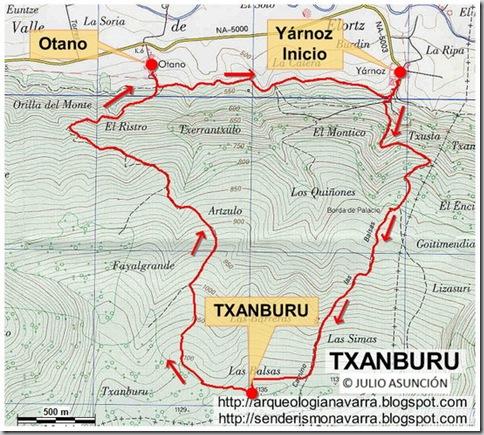 Mapa ruta Txanburu