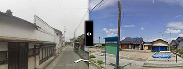 Image of a Japan neighborhood before and after the 2011 Tōhoku earthquake and tsunami. Google's Memories for the Future, an interactive website that allows users to scroll through Street View images of Japan before and after the disaster. Google