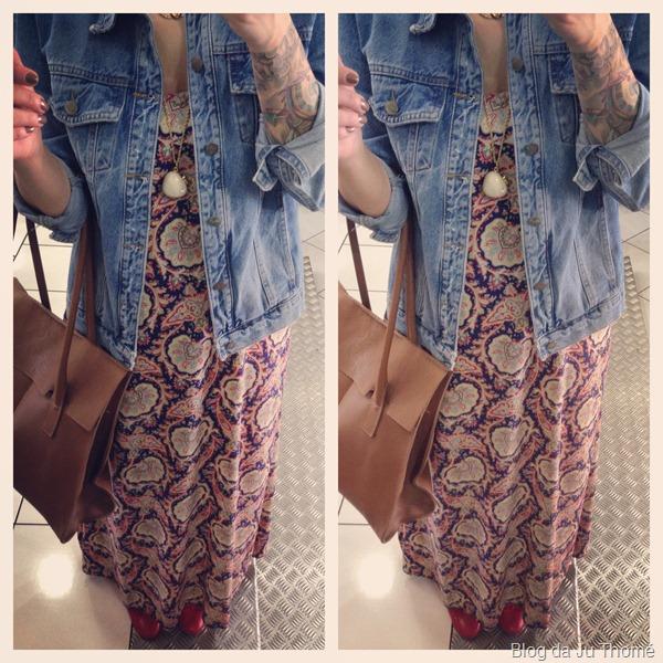 look vestido longo estampado, jaqueta jeans FARM e bolsa CARMIM (2)