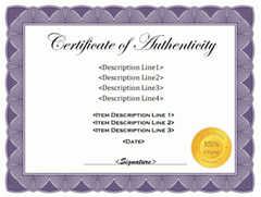 free printable certificate of authentication templates artpromotivate