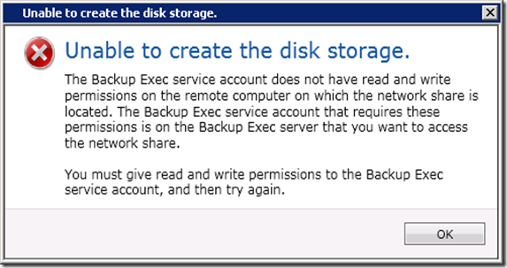 Unable to create the disk storage