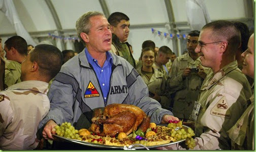 bush thanksgiving with troops