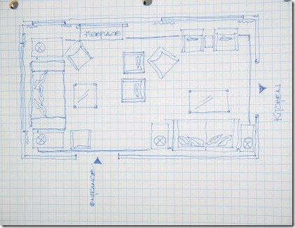 Hand drawn space planned floor plan