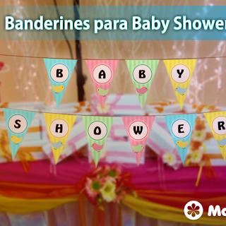 Decoración de Baby Shower: Banderines para imprimir