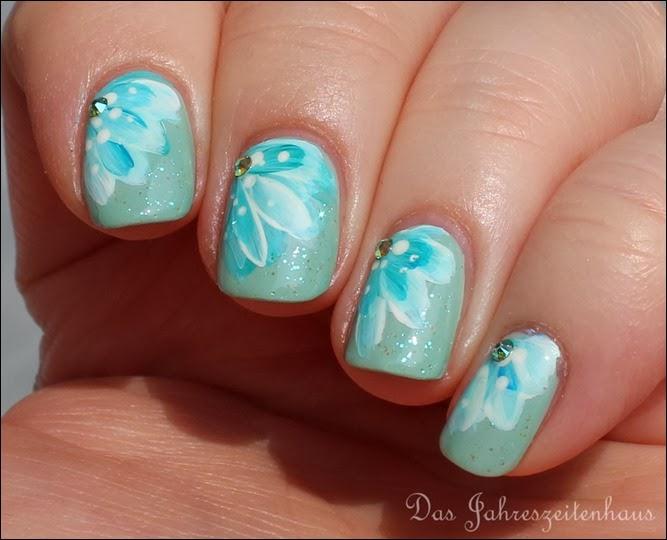 Blüten Türkis One Stroke Pinsel Blumen Turquoise Flower 2