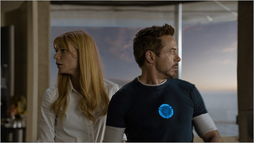 """Marvel's Iron Man 3""<br /><br />L to R: Pepper Potts (Gwyneth Paltrow) & Tony Stark/Iron Man (Robert Downey Jr.)<br /><br />Ph: Film Frame<br /><br />© 2012 MVLFFLLC.  TM & © 2012 Marvel.  All Rights Reserved."